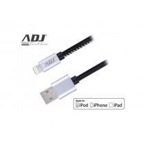 Cavo USB ADJ AIULR MADE FOR APPLE - Lunghezza 1 metro - Con rivestimento in pelle e connettori in metallo - Colore Nero