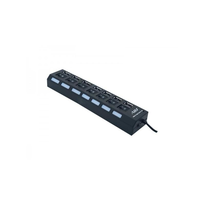 Hub USB ADJ HB007 - Fornisce 7 porte USB 2.0 - Autoalimentato - con interruttore per singola interfaccia USB - Colore Nero