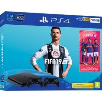 PS4 Console 500GB F Chassis Slim Black + Fifa 19 + 2 DS4 V2