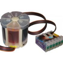 T0807 - CCISS vuoto autoresettante Nero + colori per Epson Multifunzione Stylus Photo RX 560, RX 585, RX 685, Stylus Photo R265,