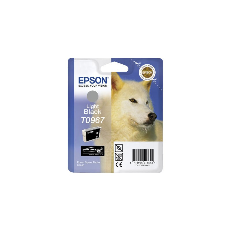 T0967 - Cartuccia Originale Nero Light Epson Stylus Photo R2880 . Compatibile con T09674020. Codice Cartuccia T0967.