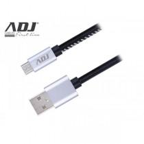 Cavo USB ADJ AIUMR USB 2.0/Micro USB - Lunghezza 1 metro - Con rivestimento in pelle e connettori in metallo - Colore Nero