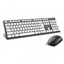 Kit Wireless ADJ KW150G Cappuco Wireless Kit: Tastiera Multimediale + Mouse 3D - Colore Nero/Bianco